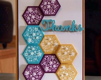 Handmade Thank You Card - Stampin Up Six-Sided Sampler - Embossed Wood Phrase