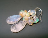 Moonstone Opal Earrings, Moonstone Large Briolettes with Clustered Ethiopian Opals, Sterling Silver