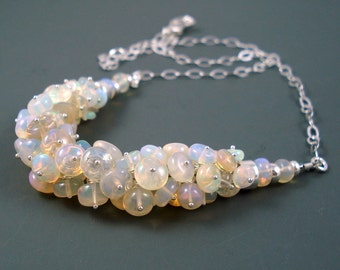 Opal Cluster Necklace, Ethiopian Opal Necklace, Real Opal Necklace