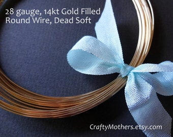 15 feet, 28 gauge 14kt Gold Filled Wire - Round, DEAD SOFT, 14K/20, wire wrapping, earrings, necklace, precious metals