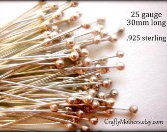 20 pieces Sterling Silver Ball Headpins, 25 gauge / 30mm, Genuine Bali Artisan-made jewelry supplies, precious metals