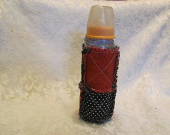 Black White and Red Inspired Baby Bottle Cover/Holder / Cozy /  Quilted Bottle Cover  Bottle Cozy Baby Gift Rag Quilted