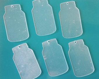 Clear Acrylic  Key Chain Mason Jar Blank with Hardware