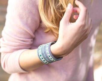 Alysha - Blue handwoven cuff bracelet