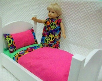 Doll Bedding Set 3 pc, 18 in Fashion Dolls, Hot Pink Peace Signs Doll Sheet Set, Dolls,Toys & Games,Toys, Doll Accessories, Doll Sleepwear