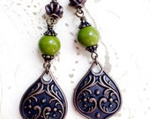 Moss Green Earrings Autumn Art Nouveau Copper by MinouBazaar