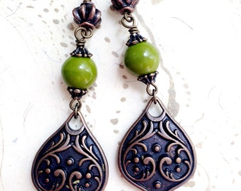 Moss Green Earrings Spring Art Nouveau Copper by MinouBazaar