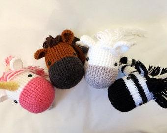 Equine Crochet PATTERN BUNDLE - Amigurumi Horses - amigurumi patterns, cute crochet horse, unicorn, zebra, pegasus softie,  horse plush, toy