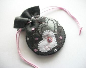 Bridal Jewelry Pouch Dark Grey Felt Drawstring Bag Hand Embroidered Handsewn