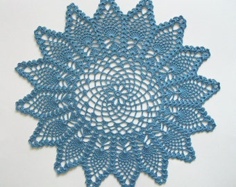 Crochet Pineapple Doily Blue Cotton Lace Table Topper Heirloom Quality