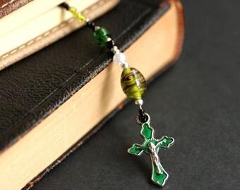Beaded Bookmark. Emerald Green Book Thong. Christian Book Marker. Christian Cross Bookmark. Olive Green Bookmark. Handmade Bookmark.