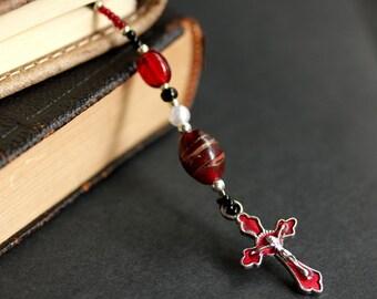 Red Bookmark. Christian Bookmark. Beaded Book Thong. Handmade Bookmark. Christian Cross Book Thong. Red Enameled Cross Bookmark.