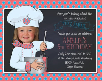 Chef Birthday Party Invitation - Personalized with your photo DIGITAL FILE
