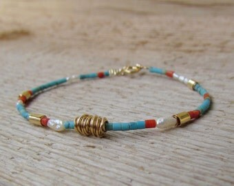 Turquoise, Coral and pearls Bracelet