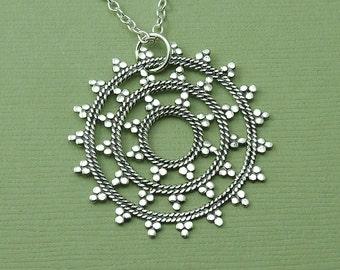 Large Mandala Necklace - sterling silver mandala pendant - trendy jewelry - zen jewelry