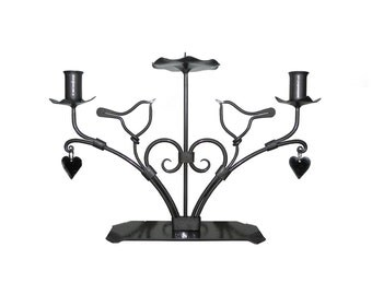 """Unity Candle Holder  """"Two Birds"""" L3(  Clear and Black,Silver,Bronze)"""
