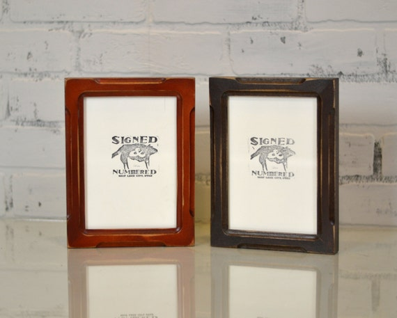 """5x7"""" Picture Frame in Shallow Bones Style and in Finish COLOR of YOUR CHOICE - 5x7 Photo Frame -Wooden Rustic Picture Frame"""