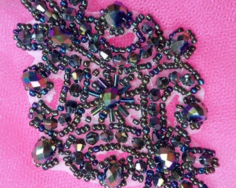 """XR332 Victorian Black AB Beaded Applique Sewing Patch Motif  4"""" (XR332-bkab)"""