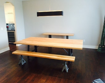 10' Industrial dining table Butcher block top