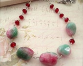 Long Bead Necklace Boho Chic Chunky Candy Jade Nuggets Red Pink Green