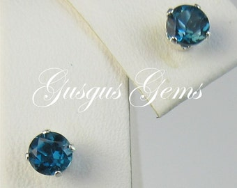London Blue Topaz/Topaz Studs/Topaz Earrings/ Blue Topaz 4mm/Topaz Posts/Stud Earrings/December Birthstone