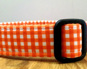 You're The Only Ten I See Tennessee Orange and White Gingham Check Dog Collar