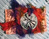 WRAP BRACELET ceramic DRAGONFLY sign in neutral Deep Aqua Ocean Mist recycled sari silk wrap ribbon in deep orange and indigo purple