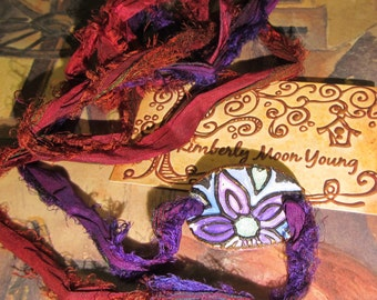 WRAP BRACELET dainty and beautiful Ceramic FLOWER recycled sari silk ribbon in Maroon and Purple