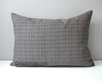 SALE - Grey Outdoor Pillow Cover, Modern Tweed Pillow Case, Masculine Pillow Case, Decorative Cushion Cover, Gray Taupe Sunbrella