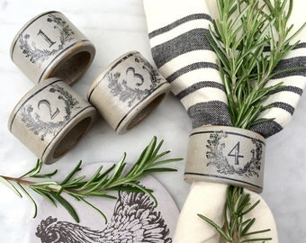 French Country Farmhouse Napkin Rings Grey with Black Laurel Wreath and Numbers
