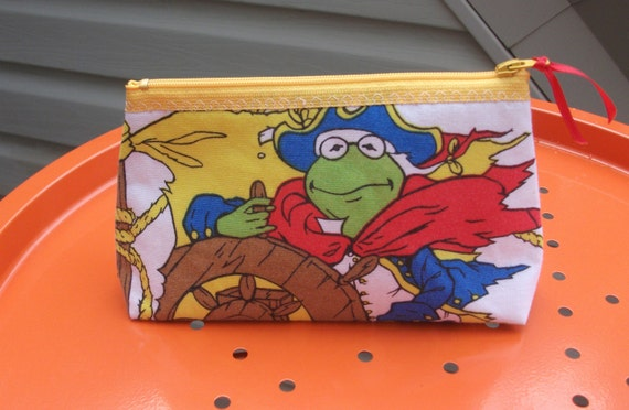 Muppets Treasure Island   Makeup- Bag--Handmade-Jim Henson  Kermit  Cookie Monster  1996
