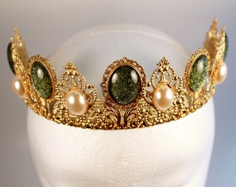 Ivory Pearl and Gold Renaissance Medieval Game of Thrones Tudor Fantasy Filigree Tiara Crown