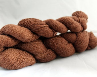 30% off STORE CLOSING SALE Brown Reclaimed Cotton Angora Blend Yarn, Lace Yarn - 783 Yards