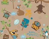 Hoot by Riley Blake Fabric Main Print Animals Owls Frogs Monkeys with Trees on Brown