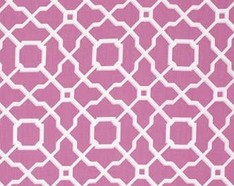 Haute Girls Fabric by Dena Designs Geometric Lattice Tile White and Pink