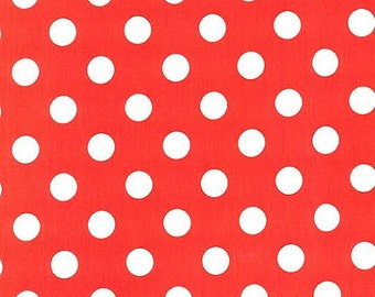 Michael Miller Quarter Dot Fabric Polka Dots White and Clementine Coral