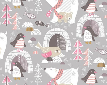Snow Day by Maude Asbury Winter Fabric Arctic Polar Animals Wonderland on Gray Grey