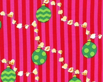 Christmas Fabric by Michael Miller Holiday Santa Popcorn Garland with Green Ornaments on Red Pink Stripes Stripe