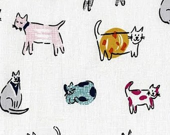 The Cats Meow Fabric by Dear Stella Cute Sketched Multicolored Patterned Cat on White