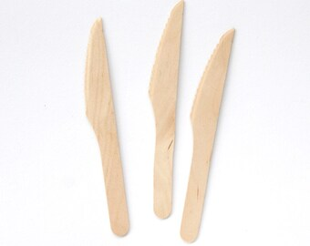 Wooden Knives / Disposable Wooden Utensils / Birch Knives (100)