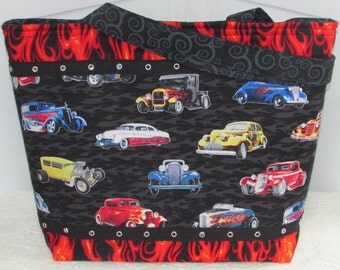 Hot Rods and Flames Large Tote Bag Classic Cars purse Ready To Ship