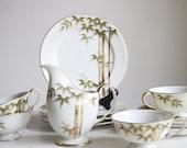 Tea Set, Cups and Saucers, Tashiro Shoten, Gold Bamboo