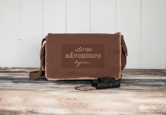 Messenger Bag - Let the Adventure Begin... - School Bag - Java Brown - Canvas Bag