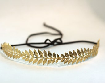4 Leaves Goddess Headband, Greek goddess headband, gold leaf belt, gold grecian belt, laurel wreath, bridal hair piece, boho wedding crown