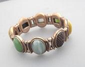 Monet Stretch Bracelet, Boho Bracelet, Monet Copper Bracelet, Monet Glass Bracelet