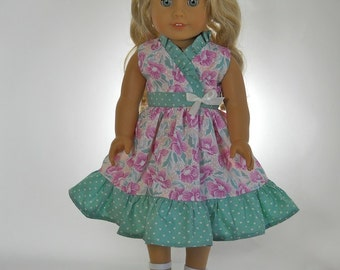 18 inch doll clothes,  Pink Green Cross-Over Dress, 04-0167
