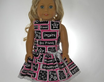 18 inch doll clothes, Best Friends Dress in Pink and Black, 05-0214
