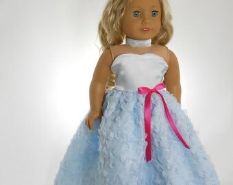 18 inch doll clothes made to fit dolls such as Americang Girl®, Light Blue Full-Length Party Dress and choker 05-0233
