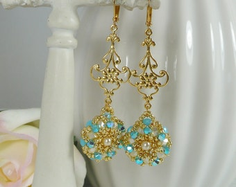 Woven Dangle Earrings in Turquoise and Gold