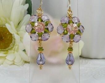 Woven Flower Dangle Earrings Lavender and Green Crystal